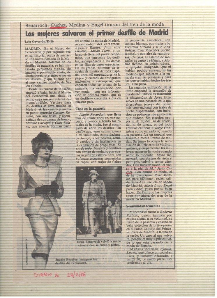1986 CUCHET EN PASARELA